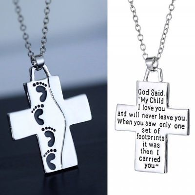 New Foot Print Prayer Christian Jesus Cross Necklace Engraved Word Bible Pendant