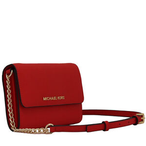 Brand New Authentic Michael Kors Red Leather Crossbody Purse
