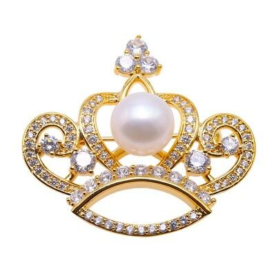 (Christmas Brooch Gold Crown 10mm White Natural Cultured Freshwater Pearl Brooch)