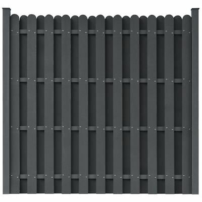 vidaXL WPC Fence Panels Garden Wall Outdoor Patio Barrier Square Gray w/ Posts