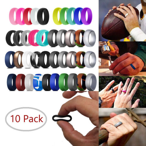10 PACKS Medical Grade Silicone Wedding Ring Men Women Flexi