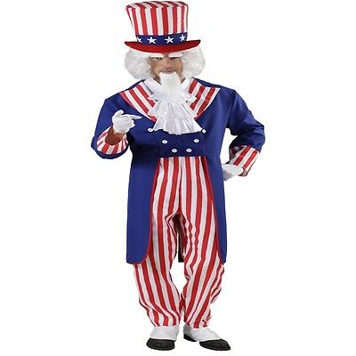 MR. AMERICA 48/50 (M)  Uncle Sam Stars und Stripes Amerika Herren Kostüm #9162