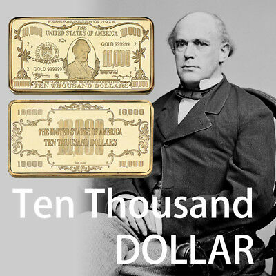 WR US $10,000 Ten Thousand Dollar Gold Clad Collectors Bar In Protective Case