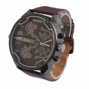 Military Army Dual Time Quartz LARGE DIAL Wrist Watch Oulm Brown