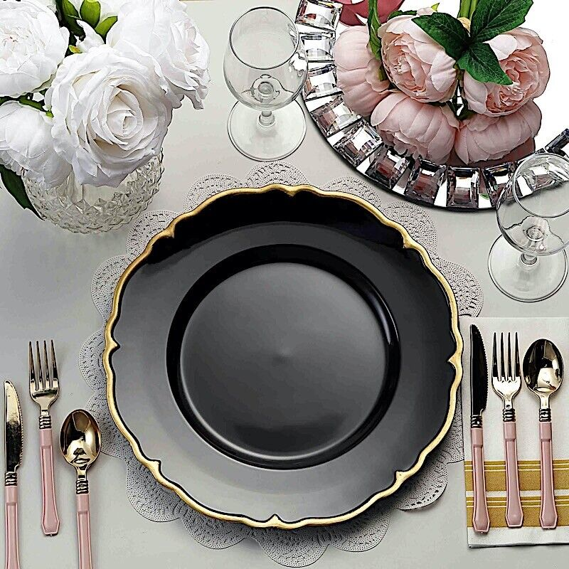 """6 pcs 13"""" METALLIC BLACK GOLD ROUND Scalloped Edge CHARGER PLATES Party Dinner"""