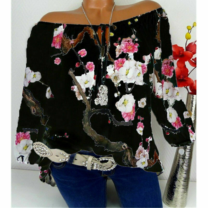 UK Womens Off Shoulder Floral Tops Ladies Bardot Loose T Shirt Blouse Plus Size