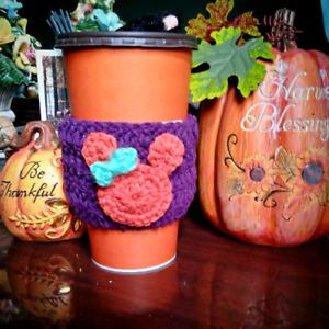 Handmade Pumpkin Minnie Cup Cozy