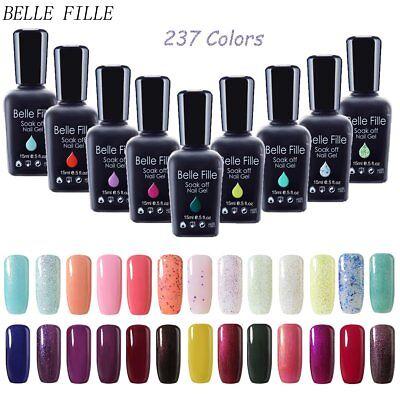 BELLE FILLE Nail Art Gel Color Polish Soak-off UV/LED Manicure DIY Varnish 15ml