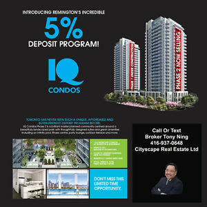 IQ Condos ONLY 5% Deposit!!Occupancy In October 2017.