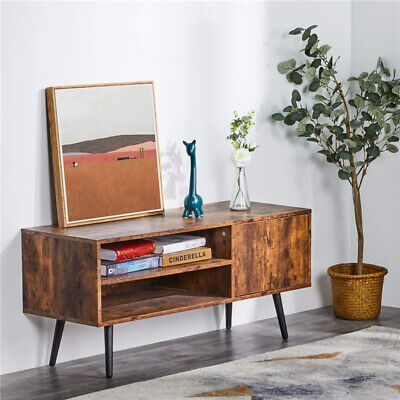 2 Tier TV Stand Console Table Wood Look Accent Furniture W/ Storage Shelf Brown