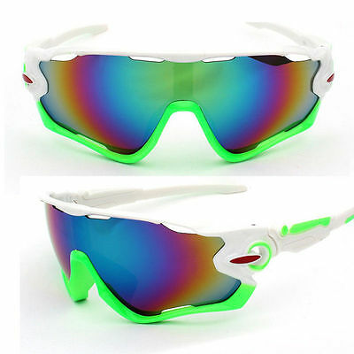 Sunglasses White Green Road Bike Cycling Helmet Sun Glasses UV400 Shatterproof (Road Bike Sunglasses)