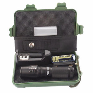 UltraBrite Tactical T6 LED flashlight, battery, charger, case