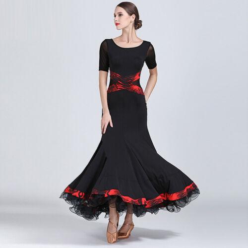 Modern Waltz Standard Dress Ballroom Competition Dance Dress Black Yellow