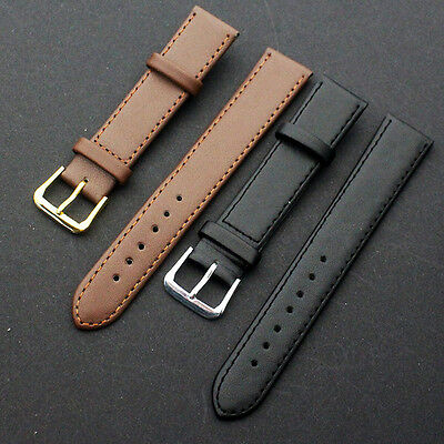 Quality Leather Black Brown Wristwatch Watch Strap Band Womens Mens jd
