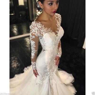 2019 Elegant  Lace Long Sleeves Ruched Mermaid Bridal Gowns Wedding Dresses