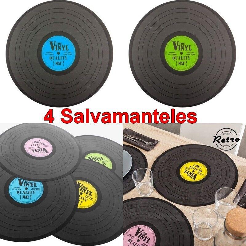 Set 4 Salvamanteles diseño disco de vinilo retro vintage 39 x 0,05 cm,decoracion