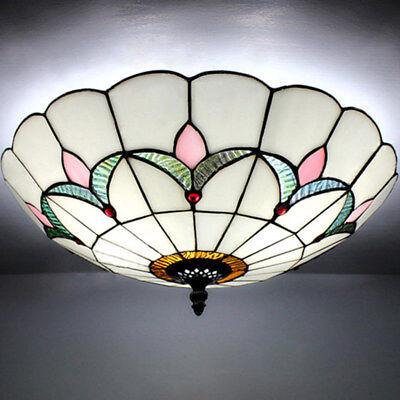 Mission Antique 2-light Tiffany Art Glass Flush Mount Ceiling Light Lamp Fixture - Mission Flush Mount Ceiling Fixture