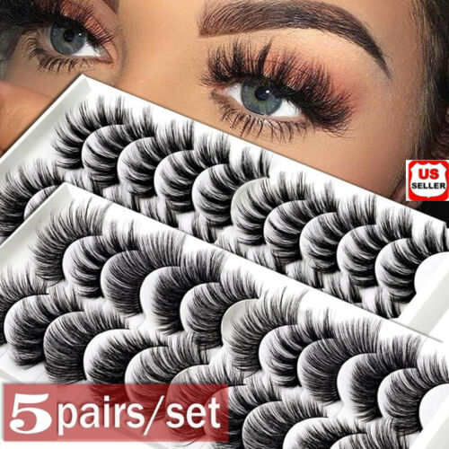 5 Pairs 100% Real 3D Mink Makeup Cross False Eyelashes Eye L