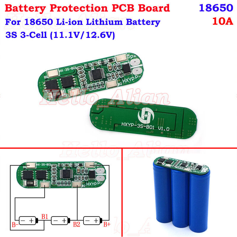 3S 11.1V 12.6V 10A Li-ion Lithium Battery 18650 Charger PCB BMS Protection Board