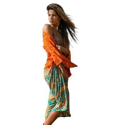 Mujeres Kimono Largo Vintage Retro Polyesters Gasa Telas Cardigans Boho Informal
