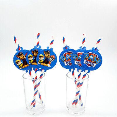 12pcs Paw Patrol Theme Party Supplies Decoration Biodegradable Paper Straws