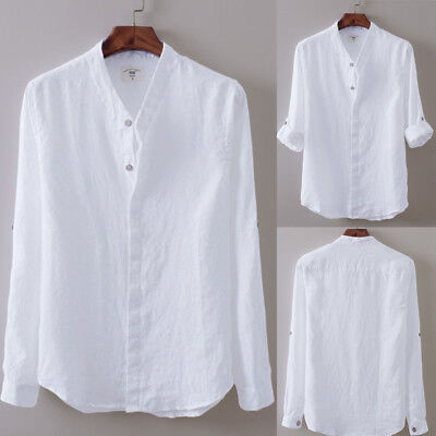 Us Mens Full Sleeve Linen Casual Shirts Breathable Cotton Shirt Asian Sizes