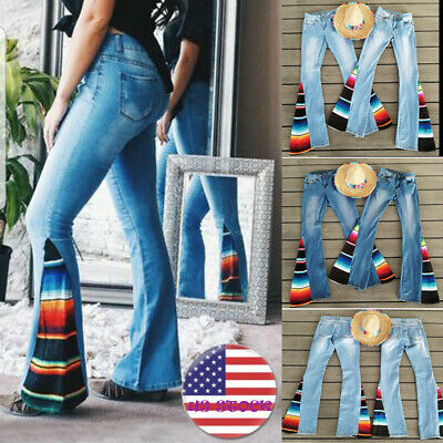 Flared Leg Jeans Pants - Plus Size Women Fashion High Waist Wide Leg Jeans Flared Bell Bottom Denim Pants