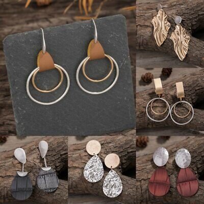Women Boho Leather Metal Earrings Rings Teardrop Dangle Ear Hook Jewelry Gifts