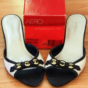 EUC Aerosole Summer Sandals with Kitten Heels