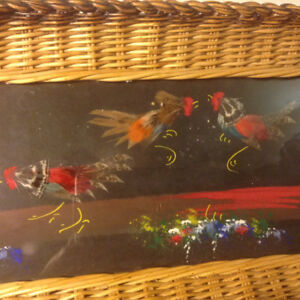 Antique PAINTED ROOSTERS TRAY Art Wall Hanging