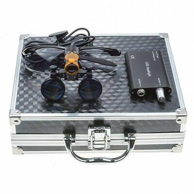 Dental 3.5x Binocular Loupes 5w Led Headlight W Filter Aluminum Box Black