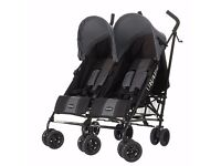 new APOLLO TWIN DOUBLE PUSHCHAIR STROLLER - BLACK/GREY with GREY HOODS