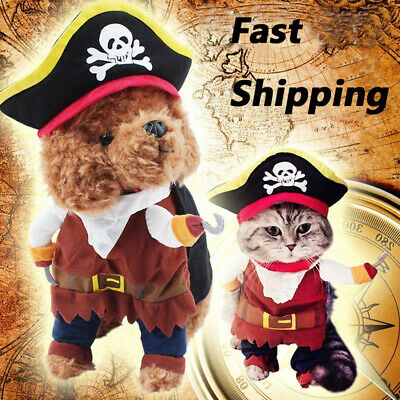Guy Pirate Costume (Pet Christmas Clothes Costumes Fancy Dress Outfit Cute Dog Cat Pirate Costume)