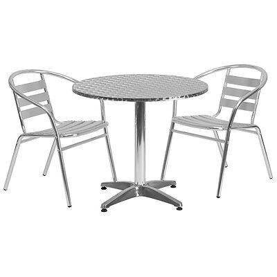 31.5 Round Aluminum Indoor-outdoor Restaurant Table With 2 Slat Back Chairs