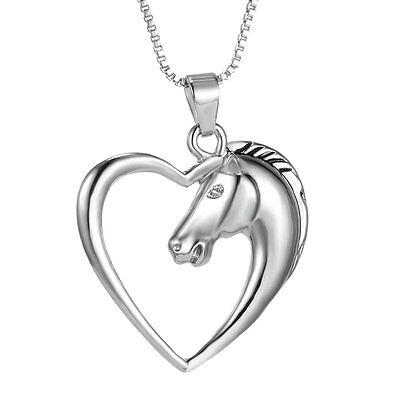 Handmade Shiny Animal Horse Heart Love Silver Necklace Pendant Friendship -
