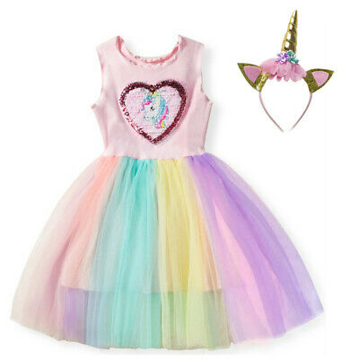 Unicorn Fancy Dress Costume (Baby Girls Unicorn Costume Dress Headband Party Fancy Dress Princess)