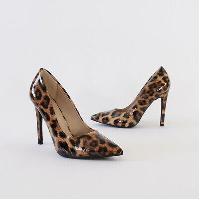 Patent Leopard Print Stiletto Pump Pointy Toe Covered 4