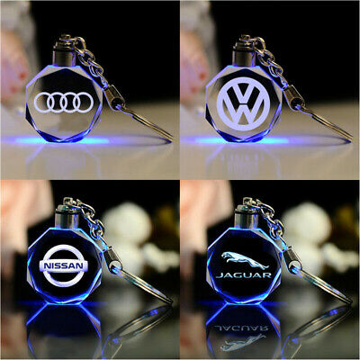 Car Logo Key Chain Car Keychain Keyfob Crystal LED Color-Changing Light Keyrings Led Lighted Logo Keychain