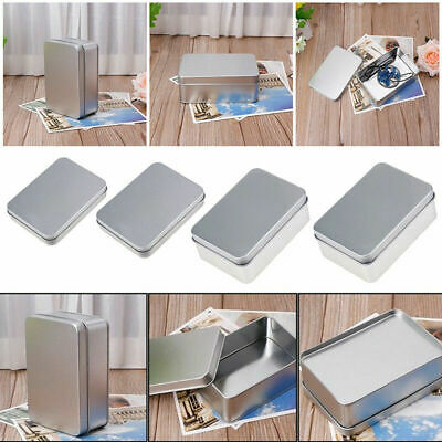 Metal Tin Rectangle Storage Box Case Organizer Small Items Coin Key Containers - Small Metal Containers