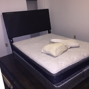 double bed with box mattress, frame and stands