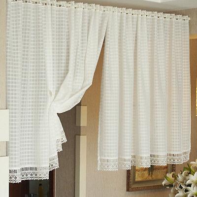 - White Lattice Door Curtain Lace Kitchen Divider Drapes Window Eyelet Curtain
