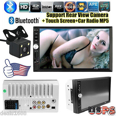 7'' HD Touch Screen Bluetooth Car Stereo Audio 2 DIN FM/MP5/MP3/USB/AUX + Camera