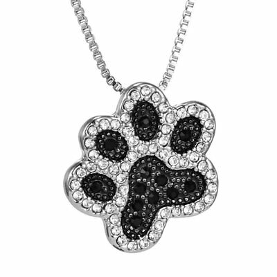 Charm Footprint Silver Dog Paw Crystal Rhinestone Pendant Necklace Chain -