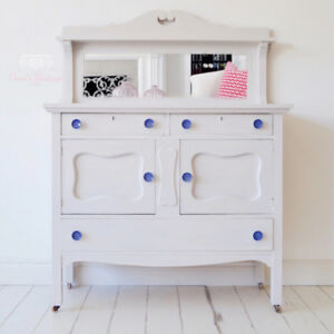 Soft Grey Antique Buffet / Sideboard / Hutch with Mirror