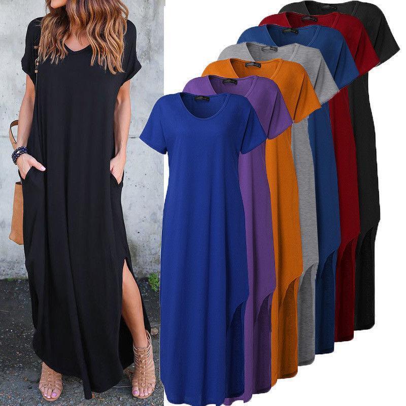 Women T-Shirt casual Long Dress Split Evening Party Shirt Dress Summer full size