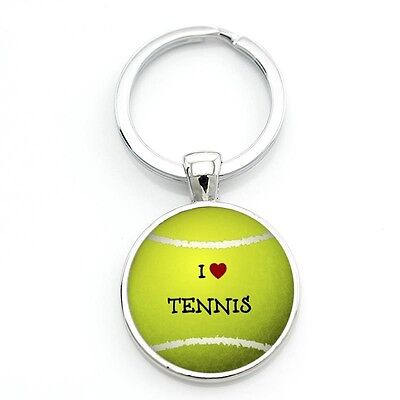 l Love Tennis Sports Ball Pendant Silver Sport Keychain Keyring Gift New