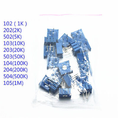 10pcs 3386p Variable Resistor Trimmer Potentiometer Assortment Set 10-values
