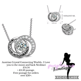 Austrian Crystal Connecting Worlds- I Love you to the moon & back