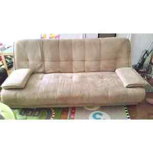 Light brown/Beige/Microsuede/Futon/Couch/Sofa/Click clack/Double