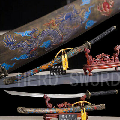 Handmade Damascus Folded Steel Japanese samurai sword Dragon Katana Saber Sharp